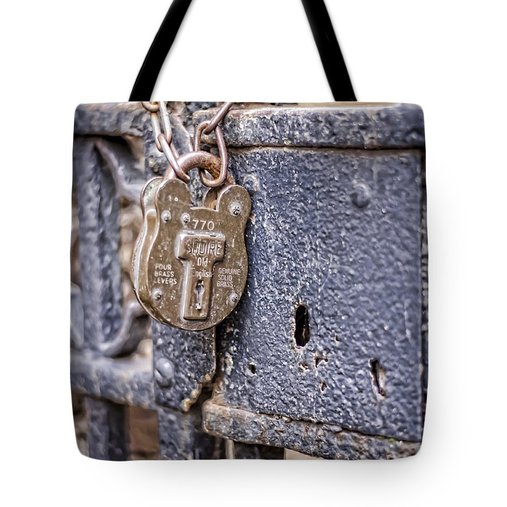 Lock Tote Bag featuring the photograph Old Lock by Heather Applegate