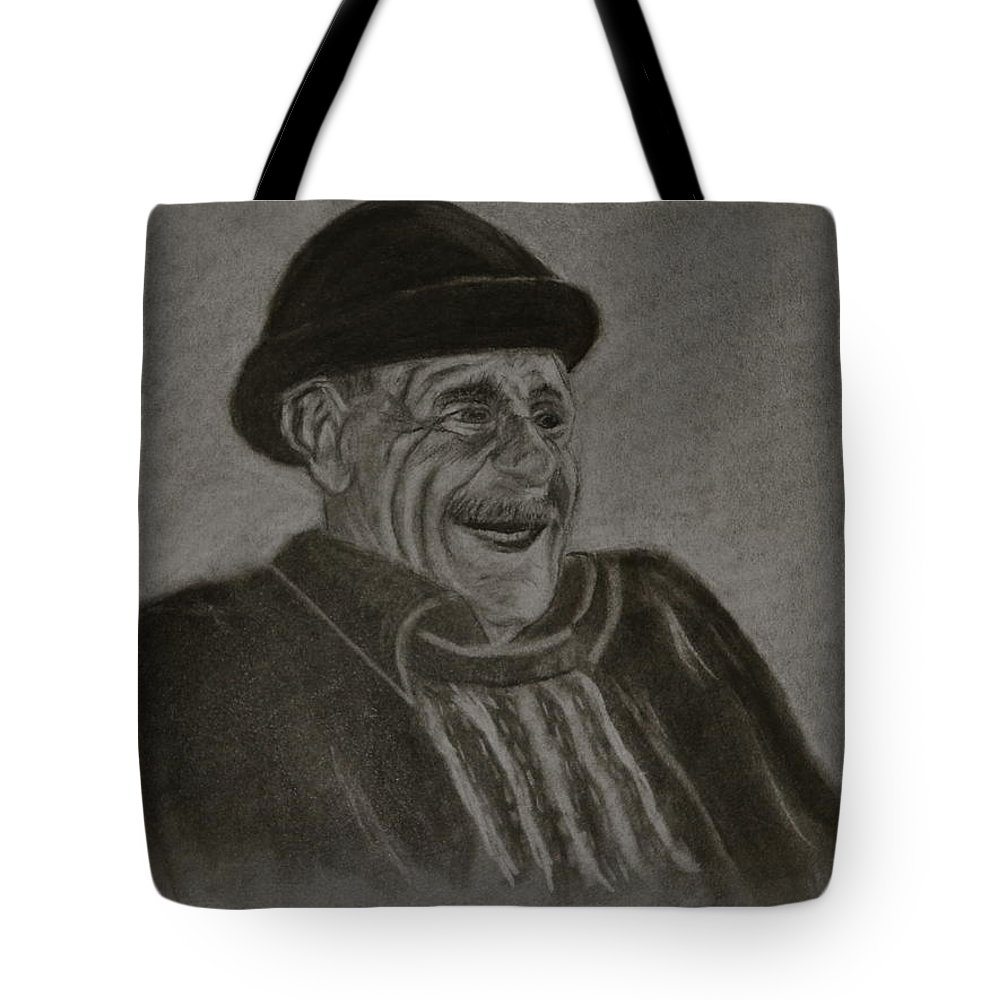 Charcoal. Man Tote Bag featuring the drawing Old Man Laughing by Michael Brennan