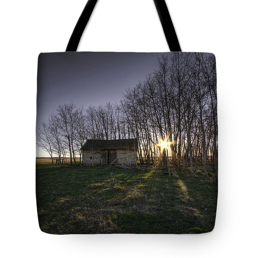 Bare Tote Bag featuring the photograph Old Prairie Homestead At Sunset by Dan Jurak