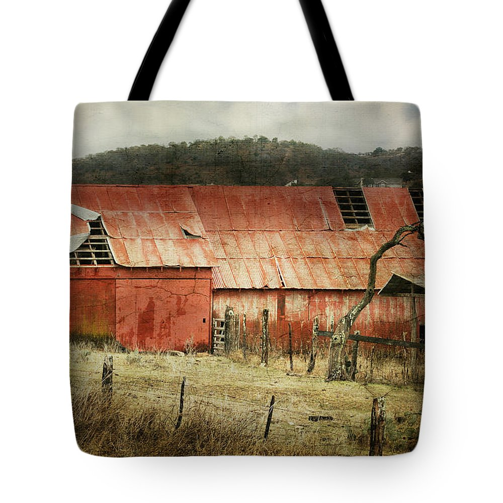 Barn Tote Bag featuring the photograph Old Red Barn by Joan Bertucci