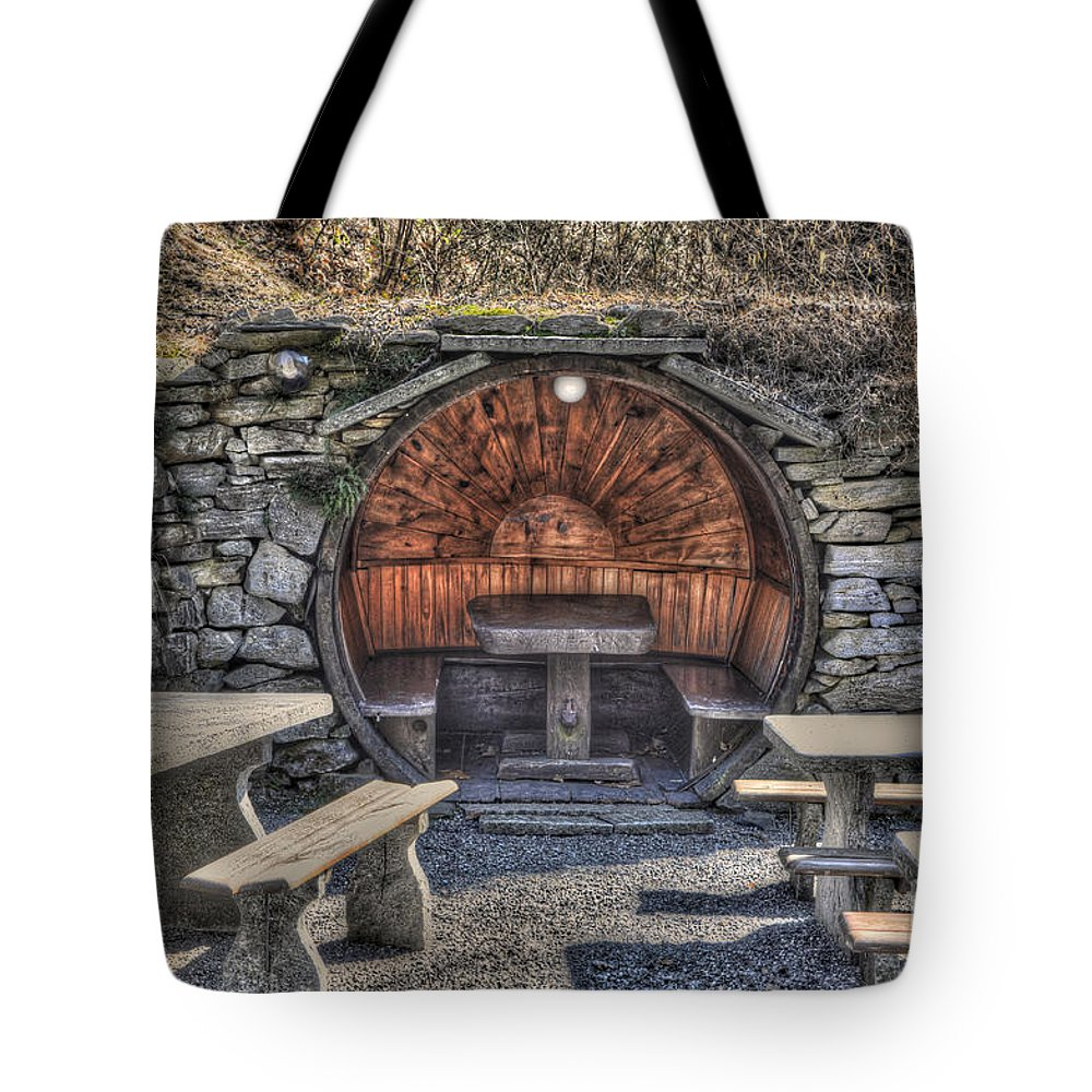 Tables Tote Bag featuring the photograph Old Tables And Benches by Mats Silvan