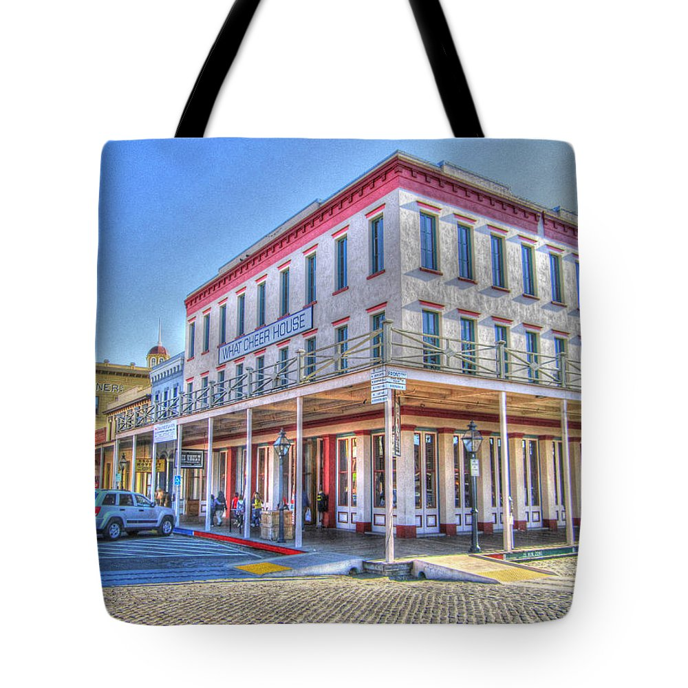 Street Corner Tote Bag featuring the photograph Old Towne Sacramento by Barry Jones