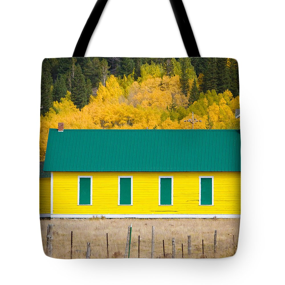 Autumn Tote Bag featuring the photograph Old Yellow School House With Autumn Colors by James BO Insogna