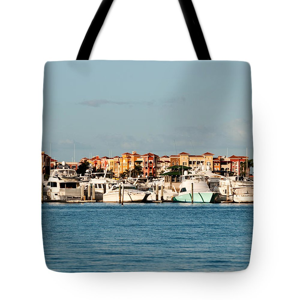 Boats Tote Bag featuring the photograph Olde Naples Seaport by Christine Stonebridge