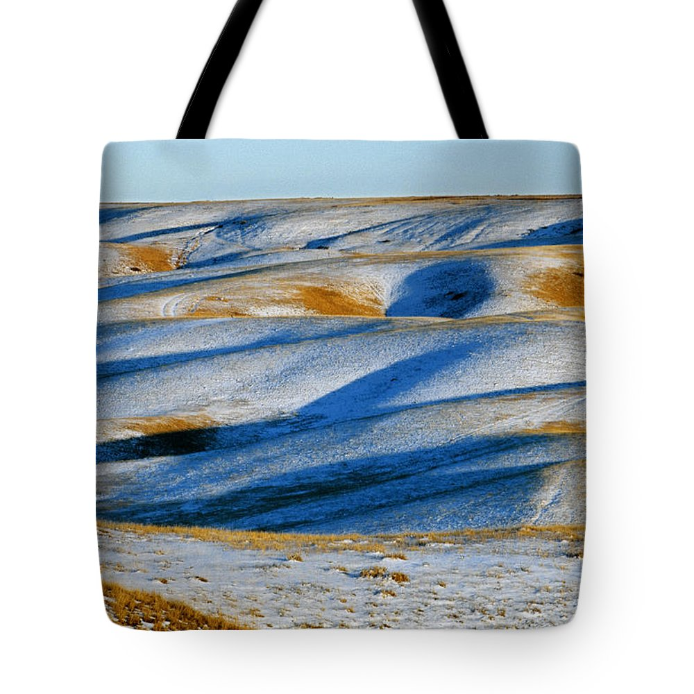 Cold Tote Bag featuring the photograph Oldman River Valley In Winter by Mike Grandmailson