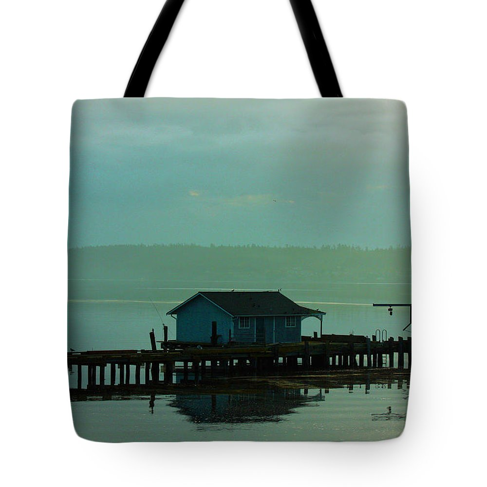 Pier Framed Prints Tote Bag featuring the photograph On A Pier by Marie Jamieson