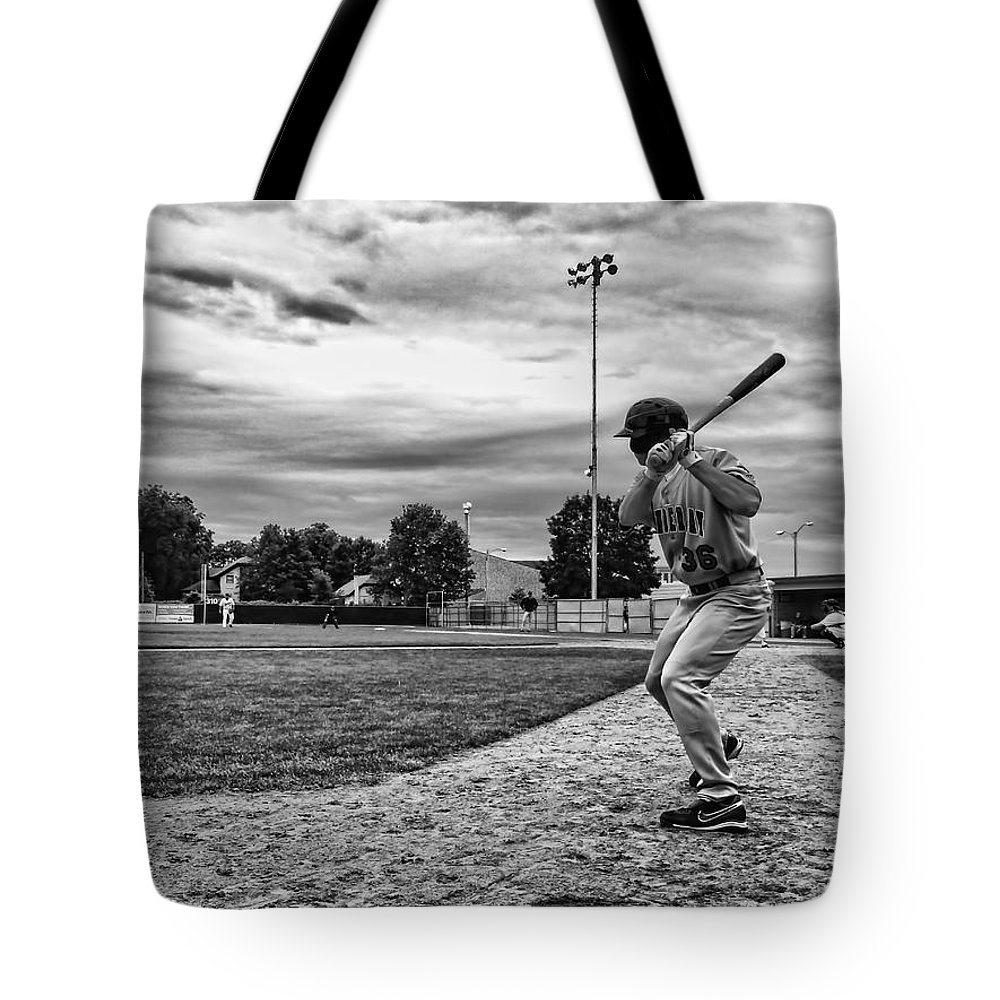 Baseball Local Ballpark Black White Pitcher Batter On Deck Next Clouds Rochester Minnesota Tote Bag featuring the photograph On Deck by Tom Gort
