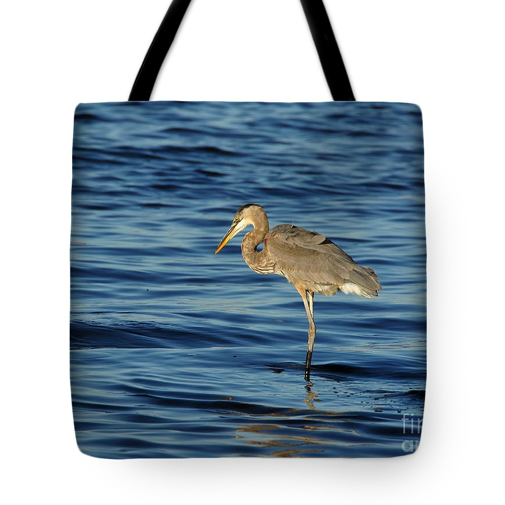 Heron Tote Bag featuring the photograph On The Hunt by Andrea Kollo