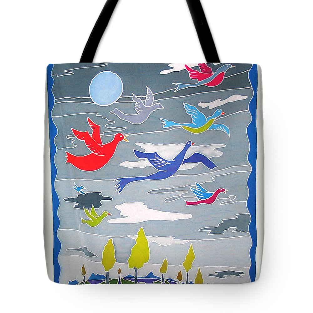 Landscape Tote Bag featuring the painting Once In A Blue Moon by Rollin Kocsis