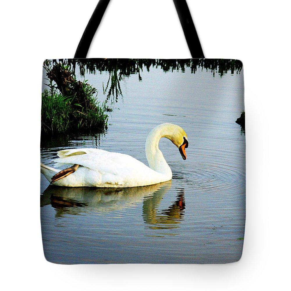 Swan Art Tote Bag featuring the photograph One Foot At Ease Swan by Marie Jamieson