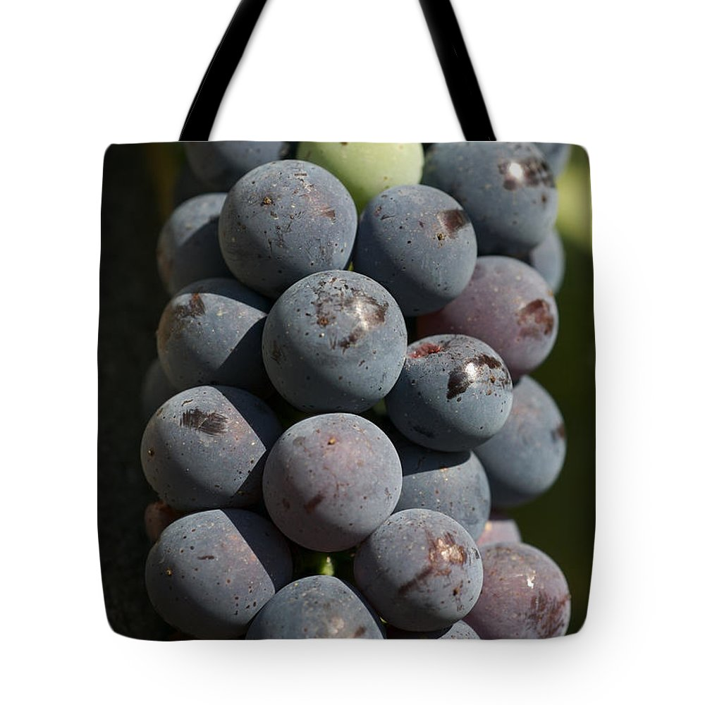 Nobody Tote Bag featuring the photograph One Green Grape Stands Out In A Bunch by Heather Perry
