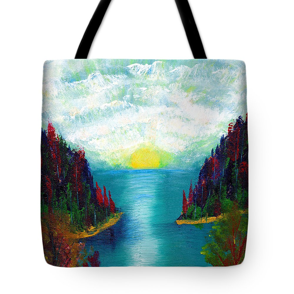 Landscapes Tote Bag featuring the painting One More Sunset by LeeAnn McLaneGoetz McLaneGoetzStudioLLCcom