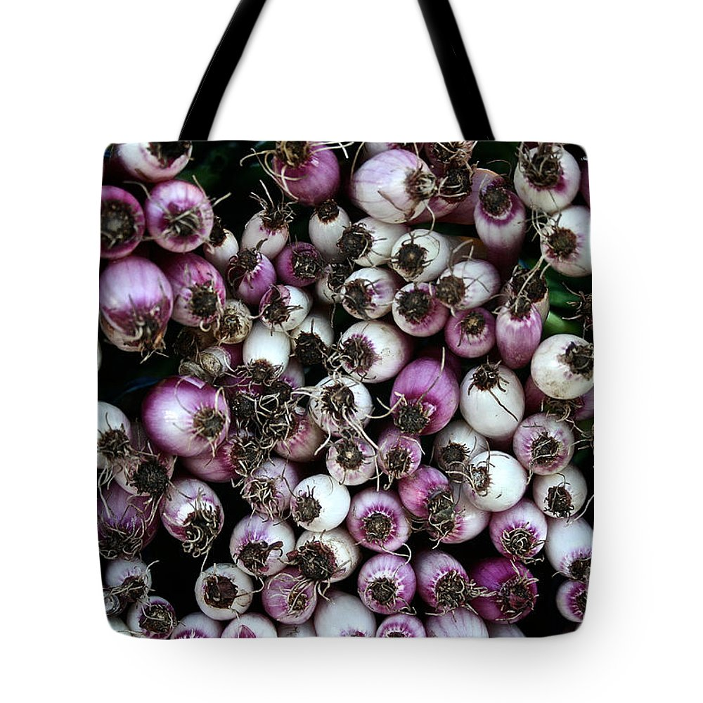 Food Tote Bag featuring the photograph Onion Power by Susan Herber