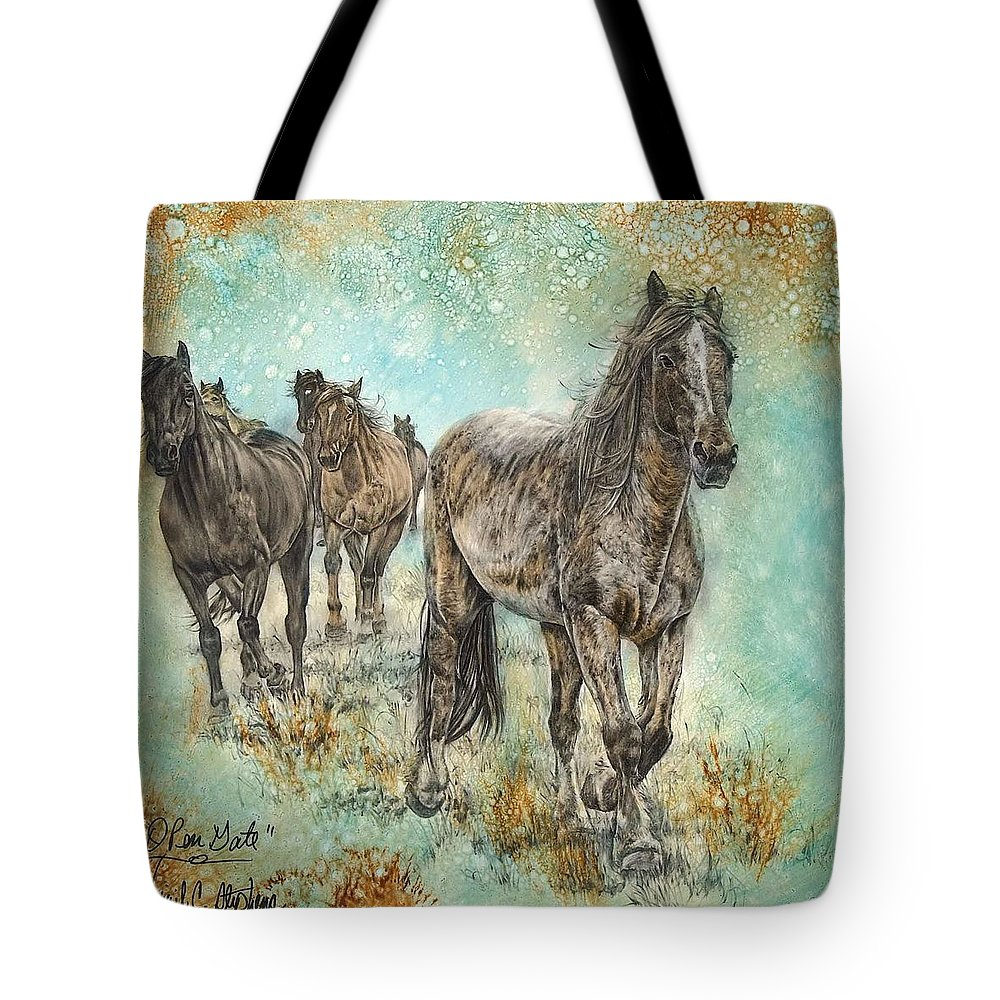 Horse Tote Bag featuring the painting Open Gate by Virgil Stephens