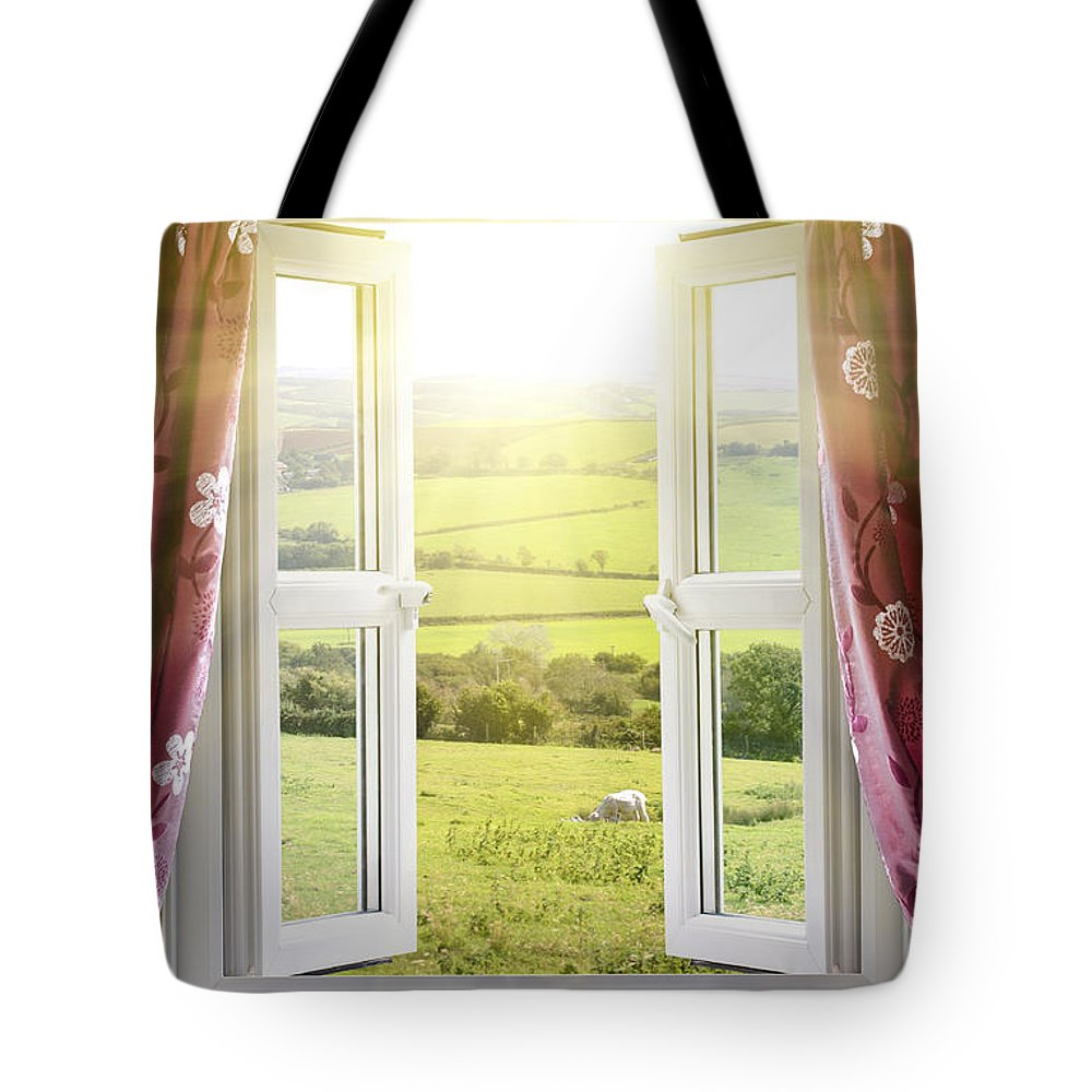 Air Tote Bag featuring the photograph Open Window With Countryside View by Simon Bratt Photography LRPS