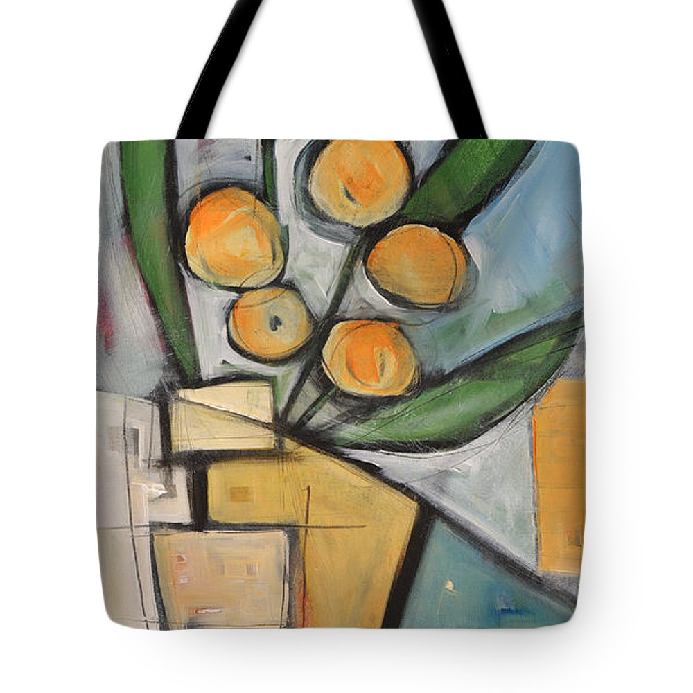 Flower Tote Bag featuring the painting Orange Blossom Special by Tim Nyberg