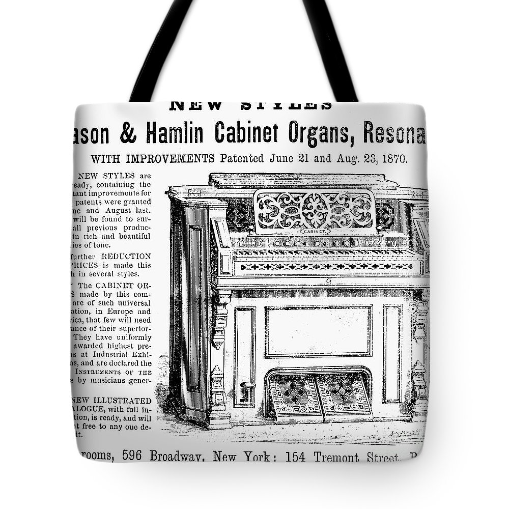 1870 Tote Bag featuring the photograph Organ Ad, 1870 by Granger
