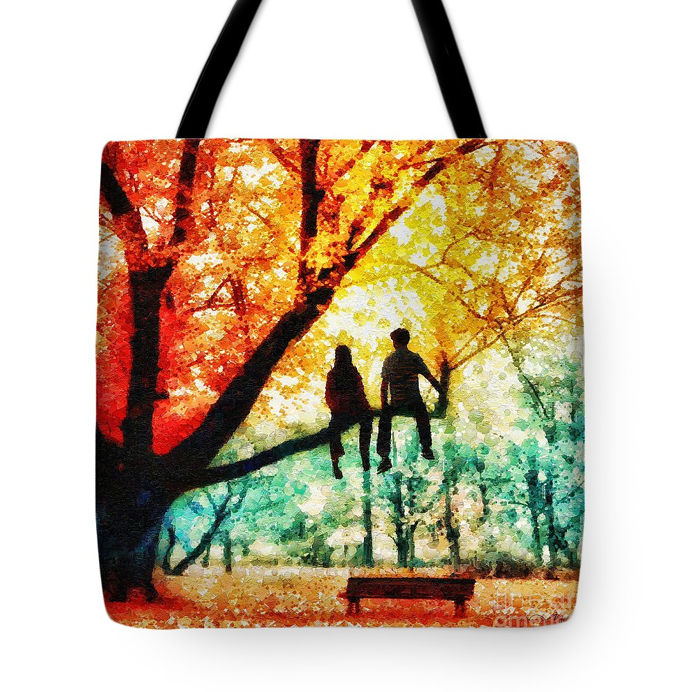 Our Spot Tote Bag featuring the painting Our Spot by Mo T