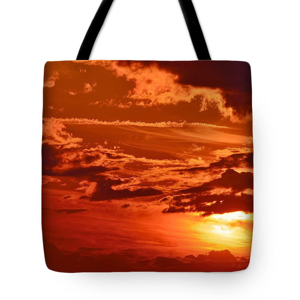 Dusk Tote Bag featuring the photograph Out My Door by Tony Beck