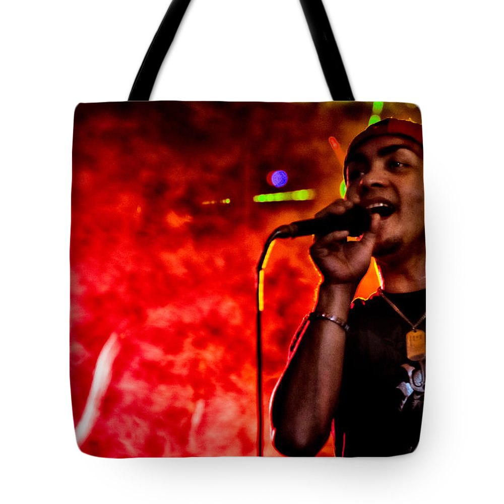 Music Tote Bag featuring the photograph Out Of A Fiery Fog by Christopher Holmes