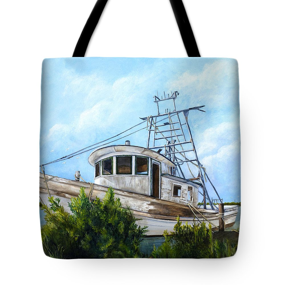 Boat Tote Bag featuring the painting Out Of Commission by Elaine Hodges