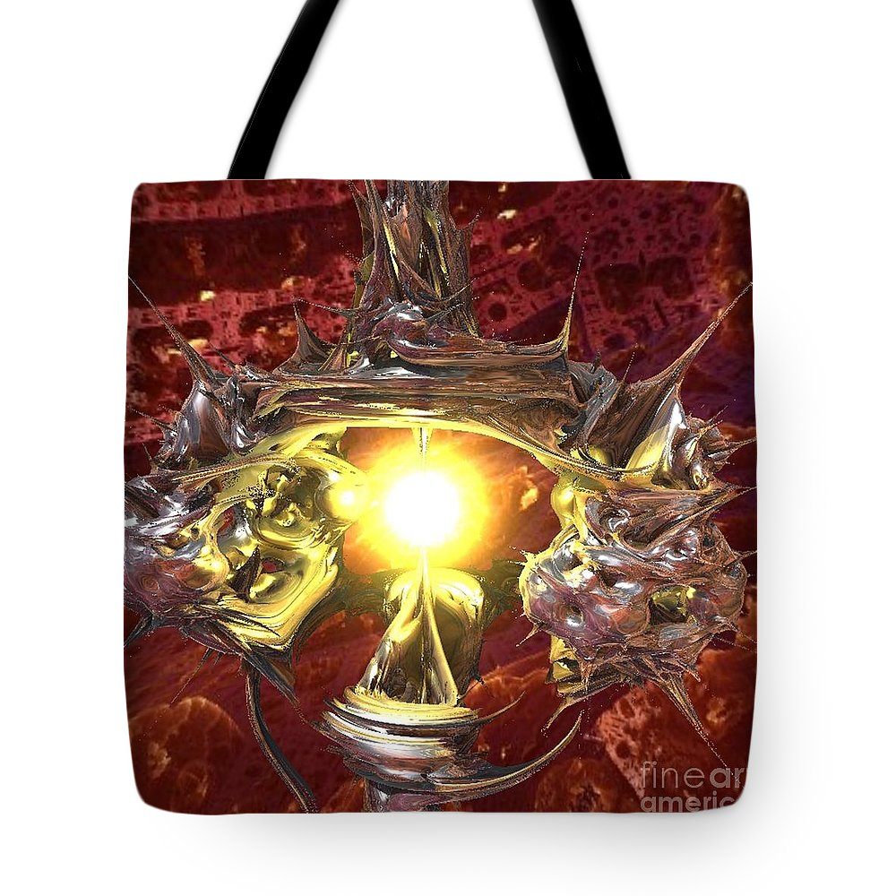 Planet Tote Bag featuring the digital art Out of Darkness by Vicki Lynn Sodora