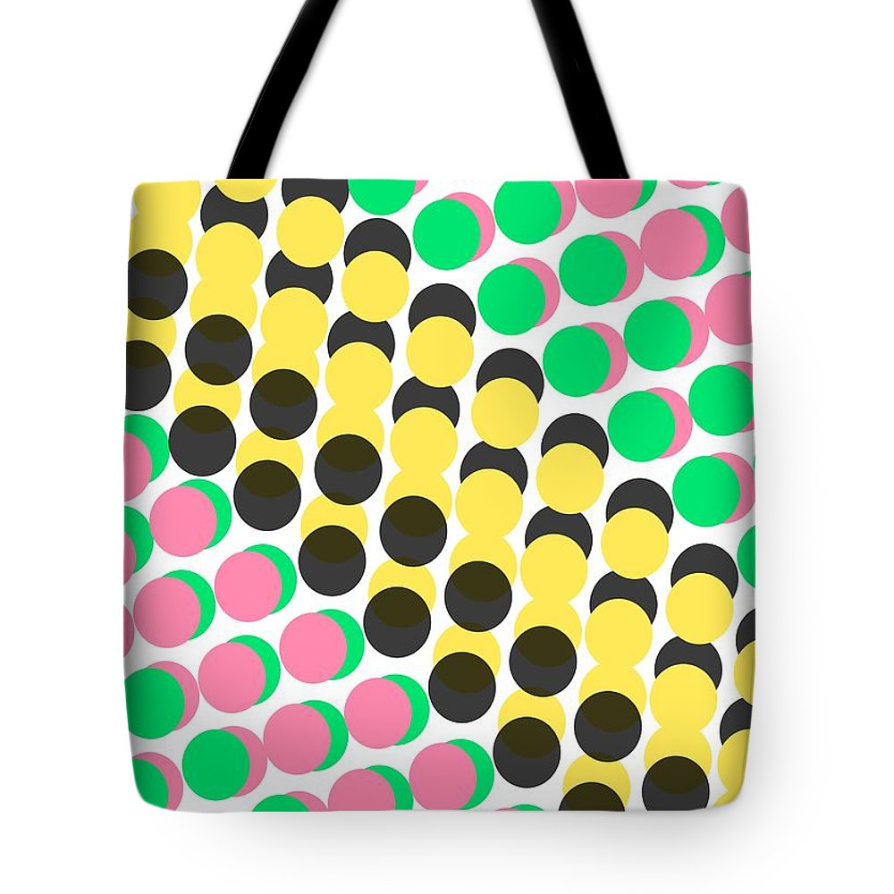 Overlayed Dots Tote Bag featuring the digital art Overlayed Dots by Louisa Knight
