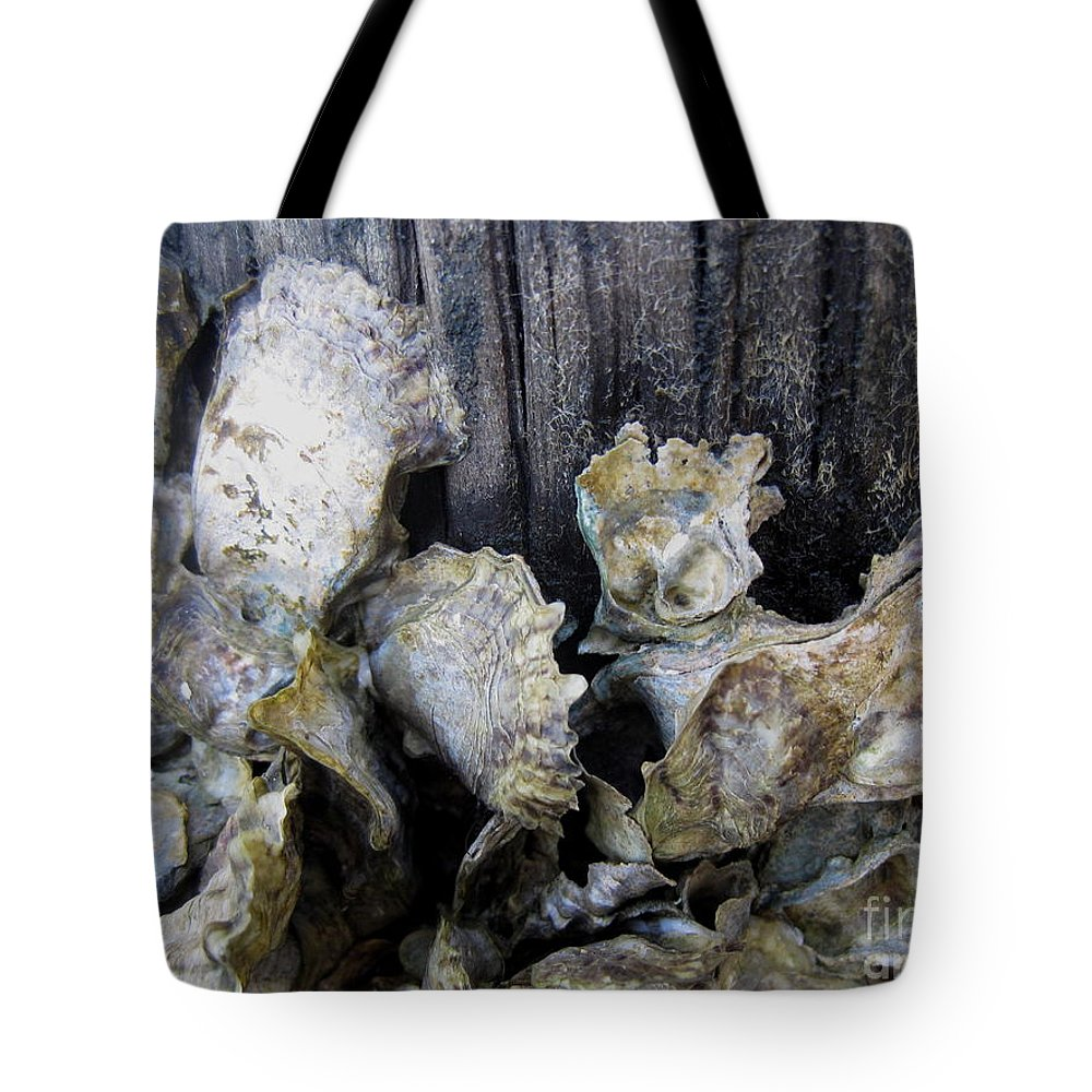 Oyster Tote Bag featuring the photograph Oysters On Piling by Jan Prewett