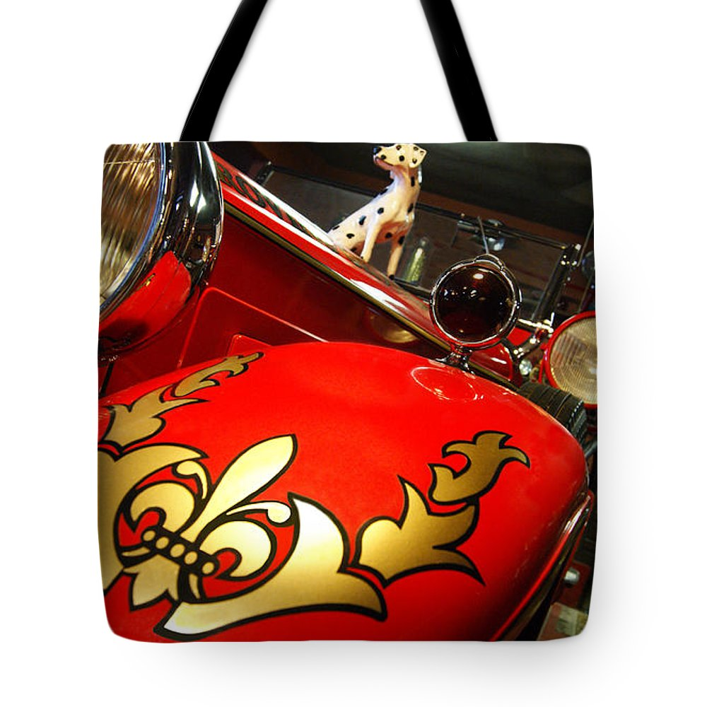Packard Tote Bag featuring the photograph Packard Fire Engine by Cathi Abbiss Crane