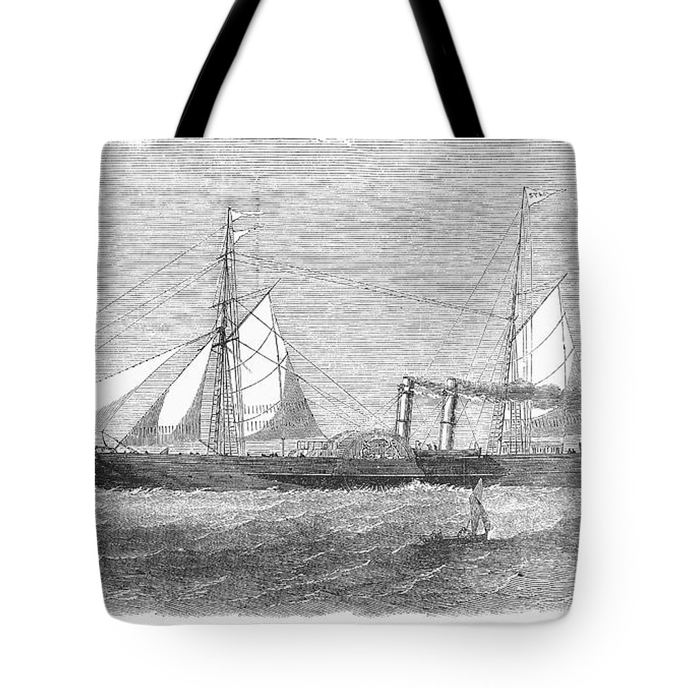 1853 Tote Bag featuring the photograph Paddle Wheel Packet Ship by Granger