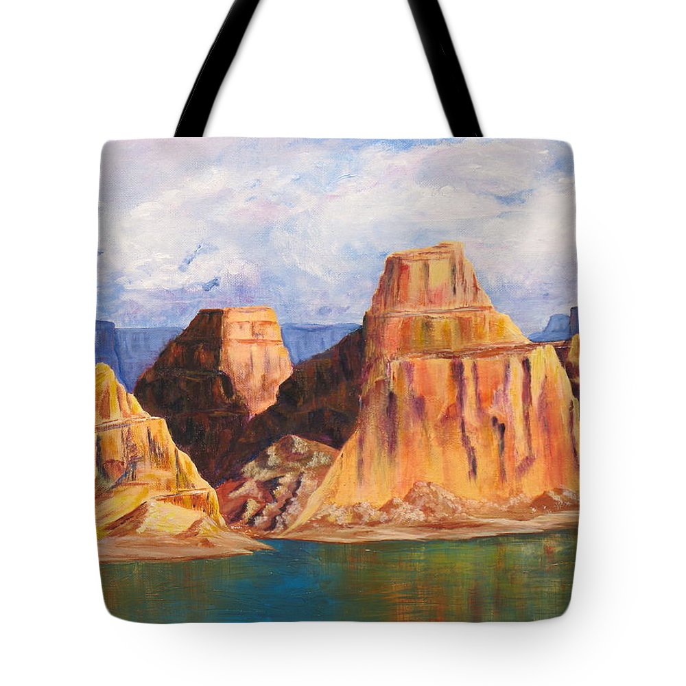 Landscape Tote Bag featuring the painting Padre Bay Lake Powell by Jennifer Hillman