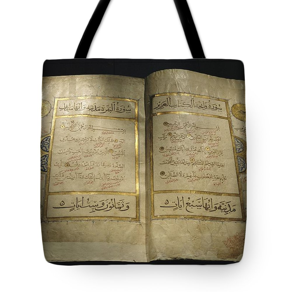 Africa Tote Bag featuring the photograph Pages Of A 13th Century Koran by Kenneth Garrett