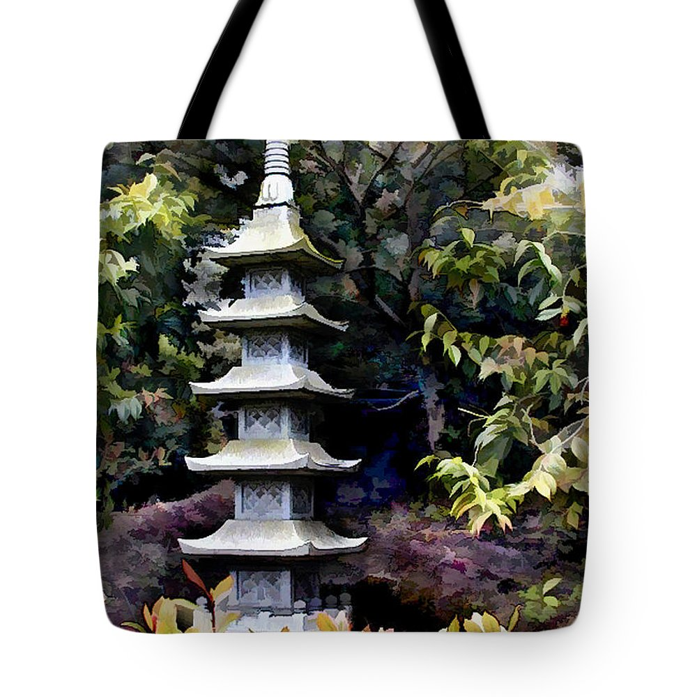 Japanese Garden Tote Bag featuring the painting Pagoda Tower Of Zen by Elaine Plesser