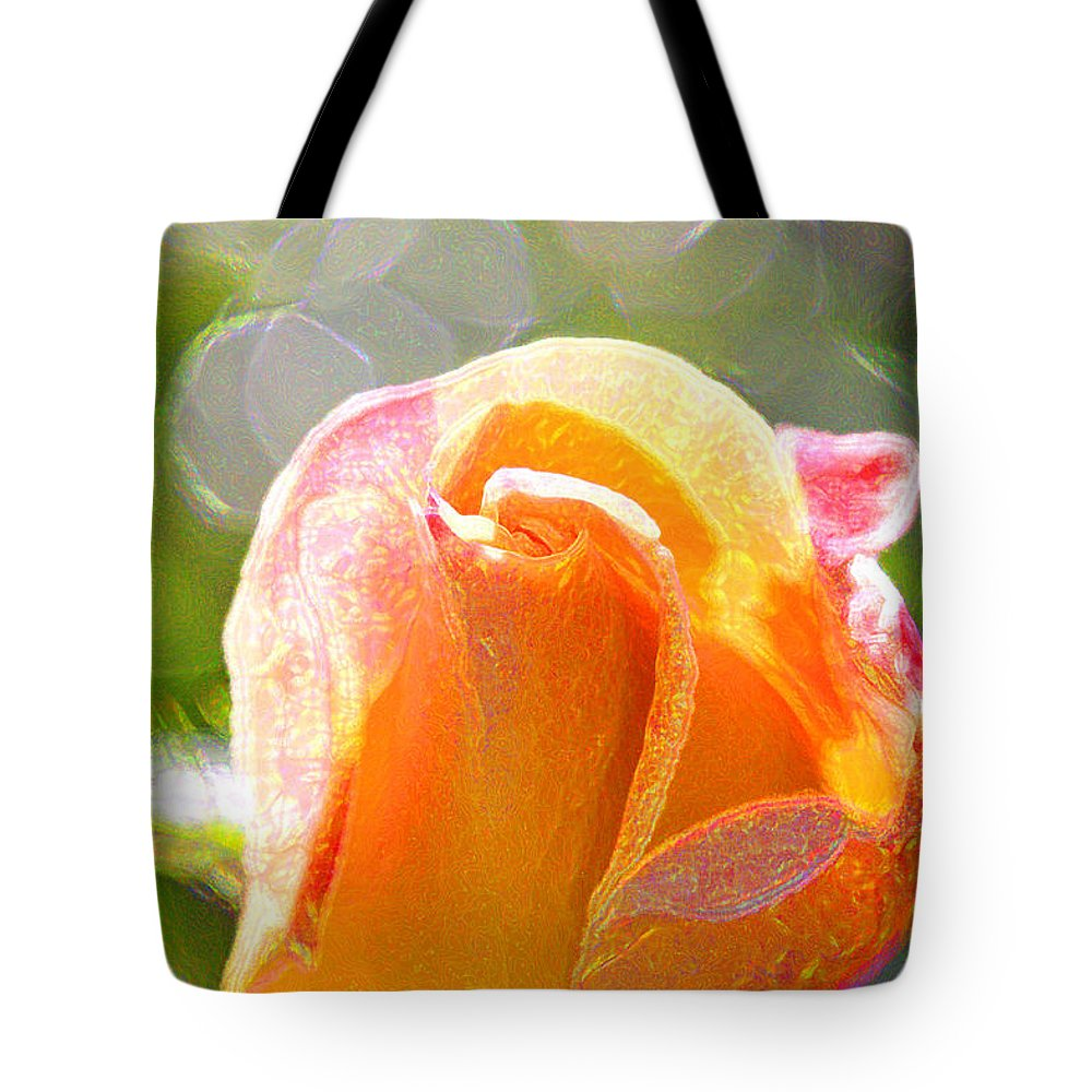 Yellow Rose Tote Bag featuring the photograph Paint Daub Yellow Rose by Marie Jamieson