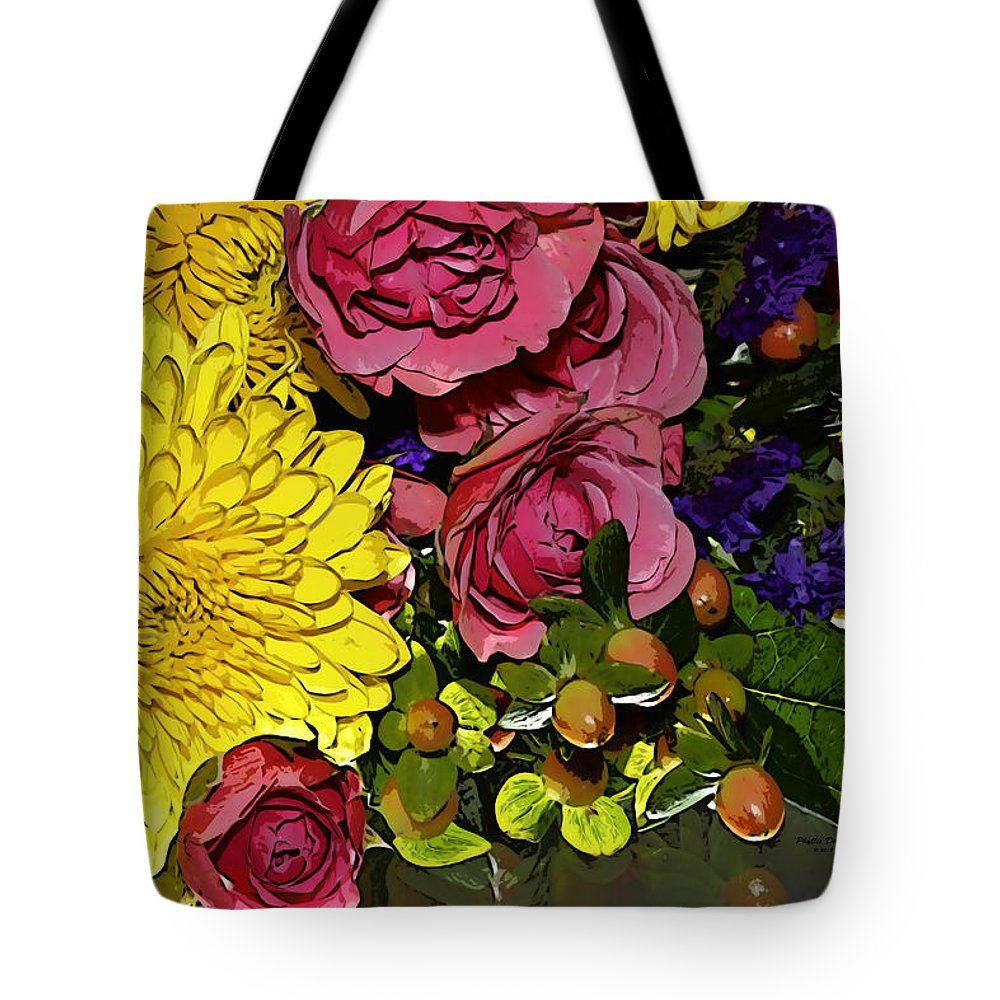Flowers Tote Bag featuring the photograph Painted Bouquet by Phyllis Denton