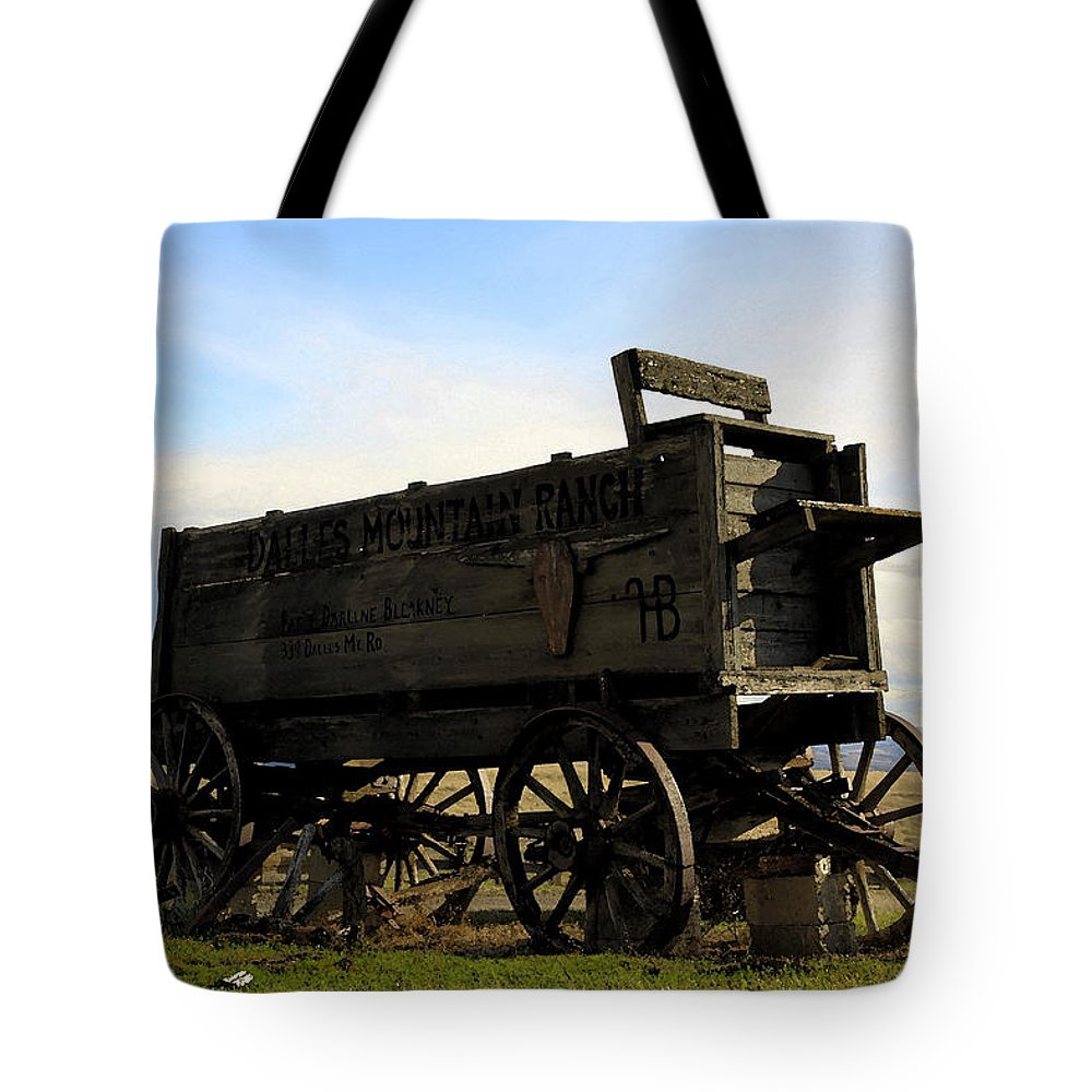 Barnwood Tote Bag featuring the photograph Painted Wagon by Steve McKinzie