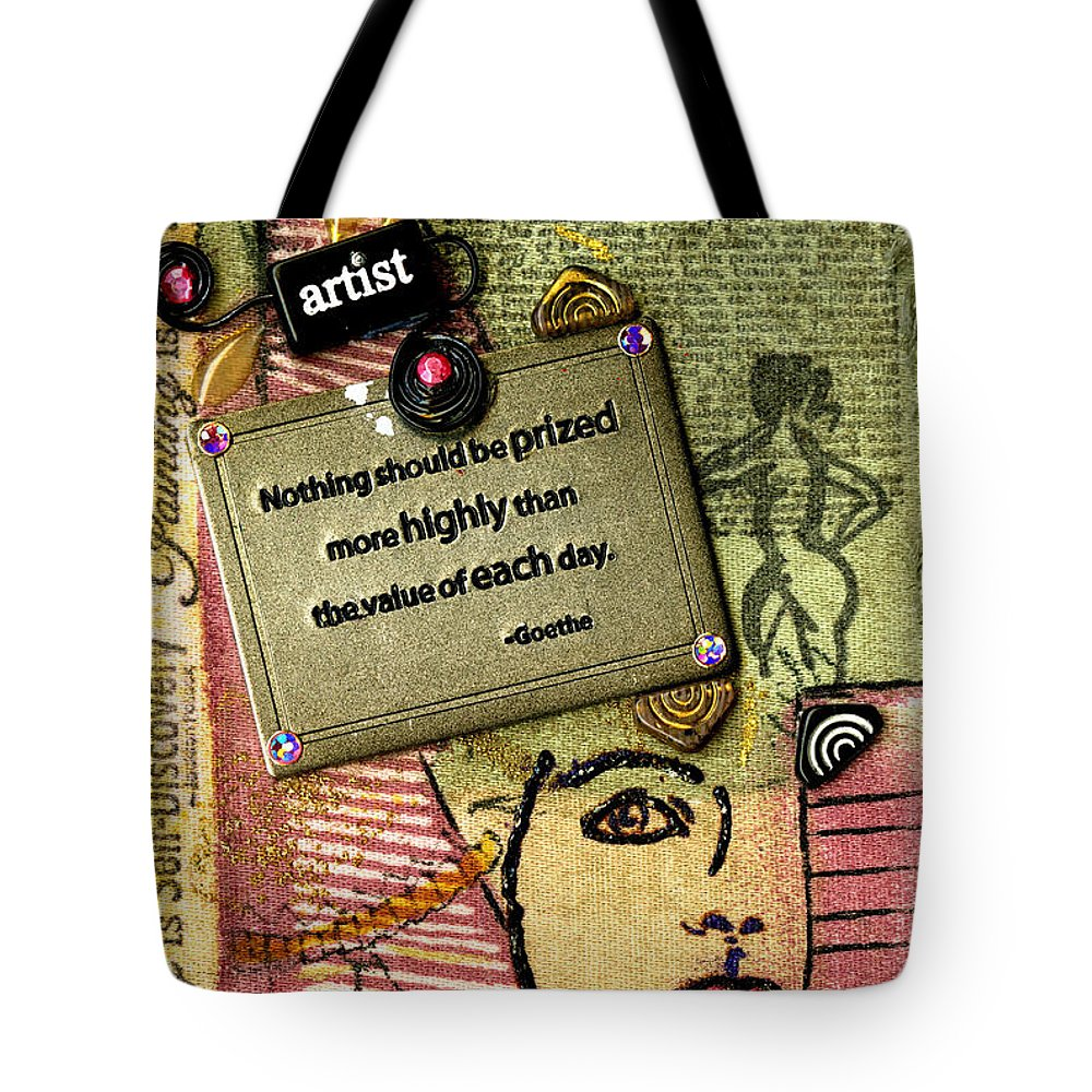 Journal Art Tote Bag featuring the mixed media Painting Is Self-discovery by Angela L Walker