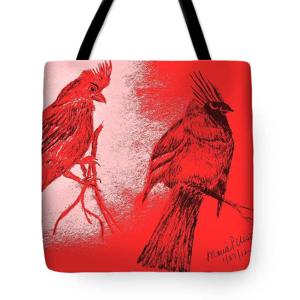 Cardinal Tote Bag featuring the drawing Pair Of Cardinals by Maria Urso