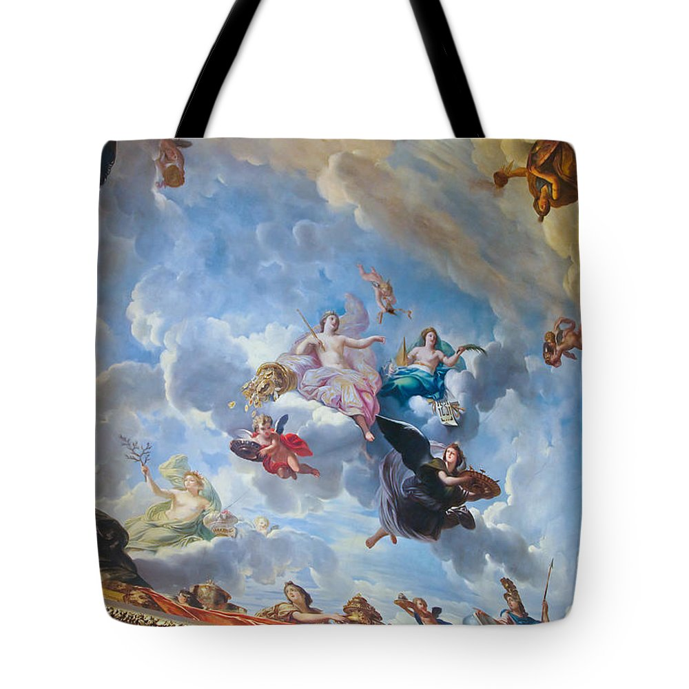 Palace Of Versailles Paris France Tote Bag featuring the photograph Palace Of Versailles Ceiling Art by Jon Berghoff