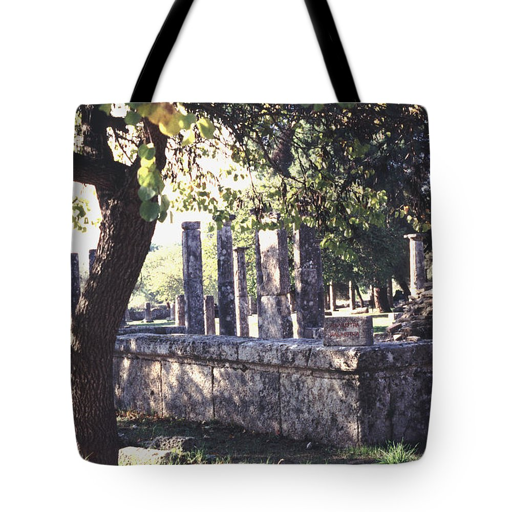 Ancient Tote Bag featuring the photograph Palestra Olympic Site Greece by Tom Wurl