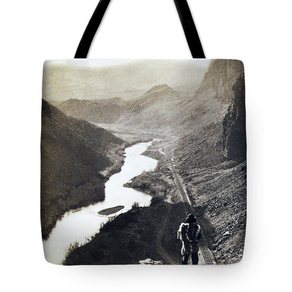 Palisades Tote Bag featuring the photograph Palisades Railroad View - California - C 1865 by International Images