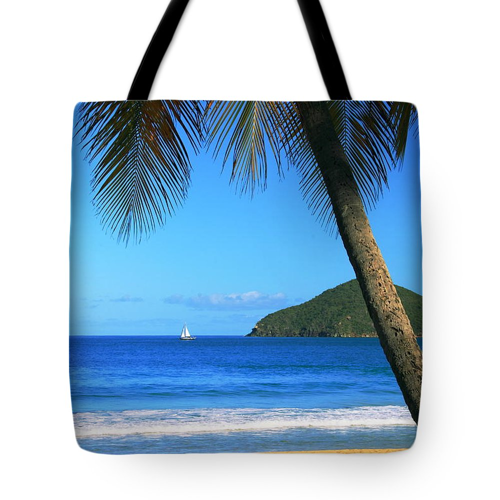 Palm Tree Tote Bag featuring the photograph Palm Shaded Island Beach by Roupen Baker