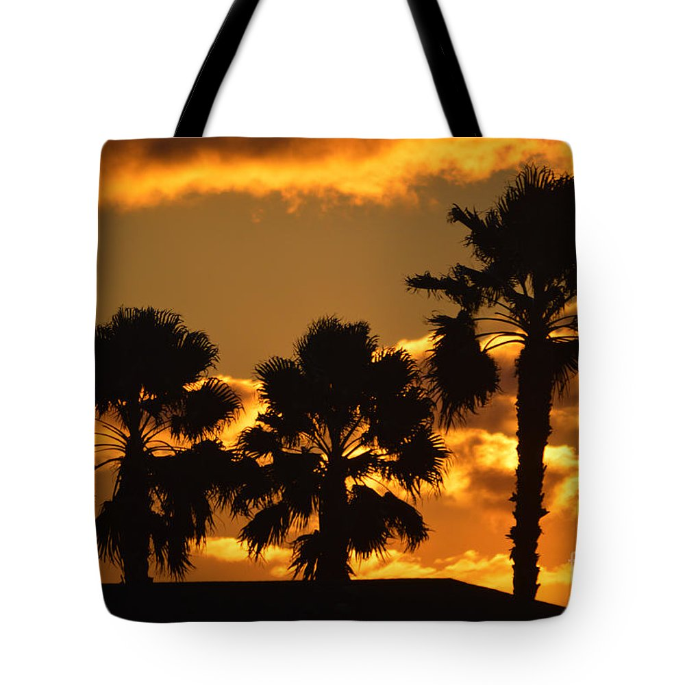 Sunrise Tote Bag featuring the photograph Palm Trees In Sunrise by Susanne Van Hulst