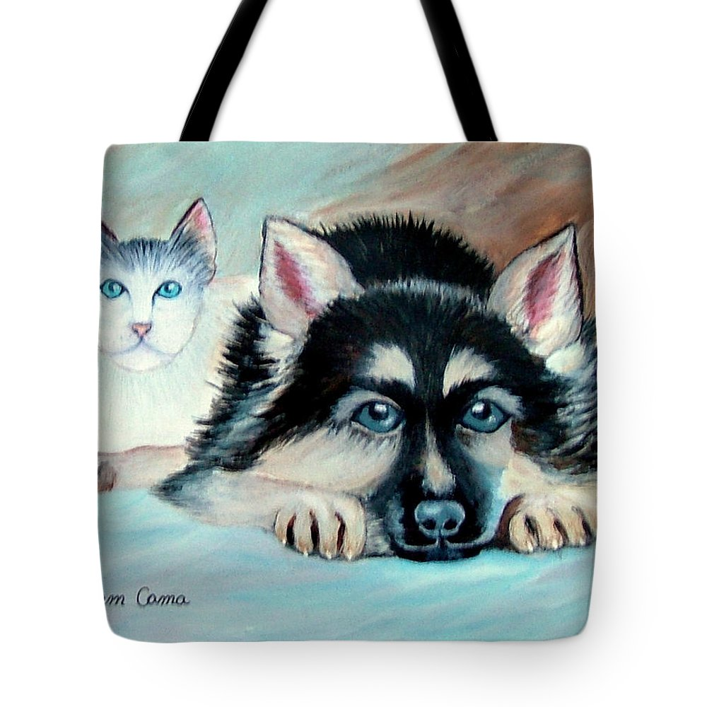 Dog--cat--animals Tote Bag featuring the painting Pals by Fram Cama