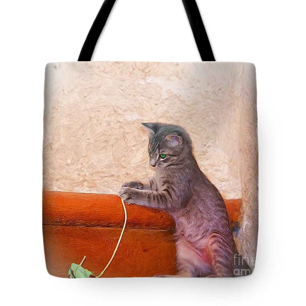 John+kolenberg Tote Bag featuring the photograph Pancho With His Toy 2 by John Kolenberg