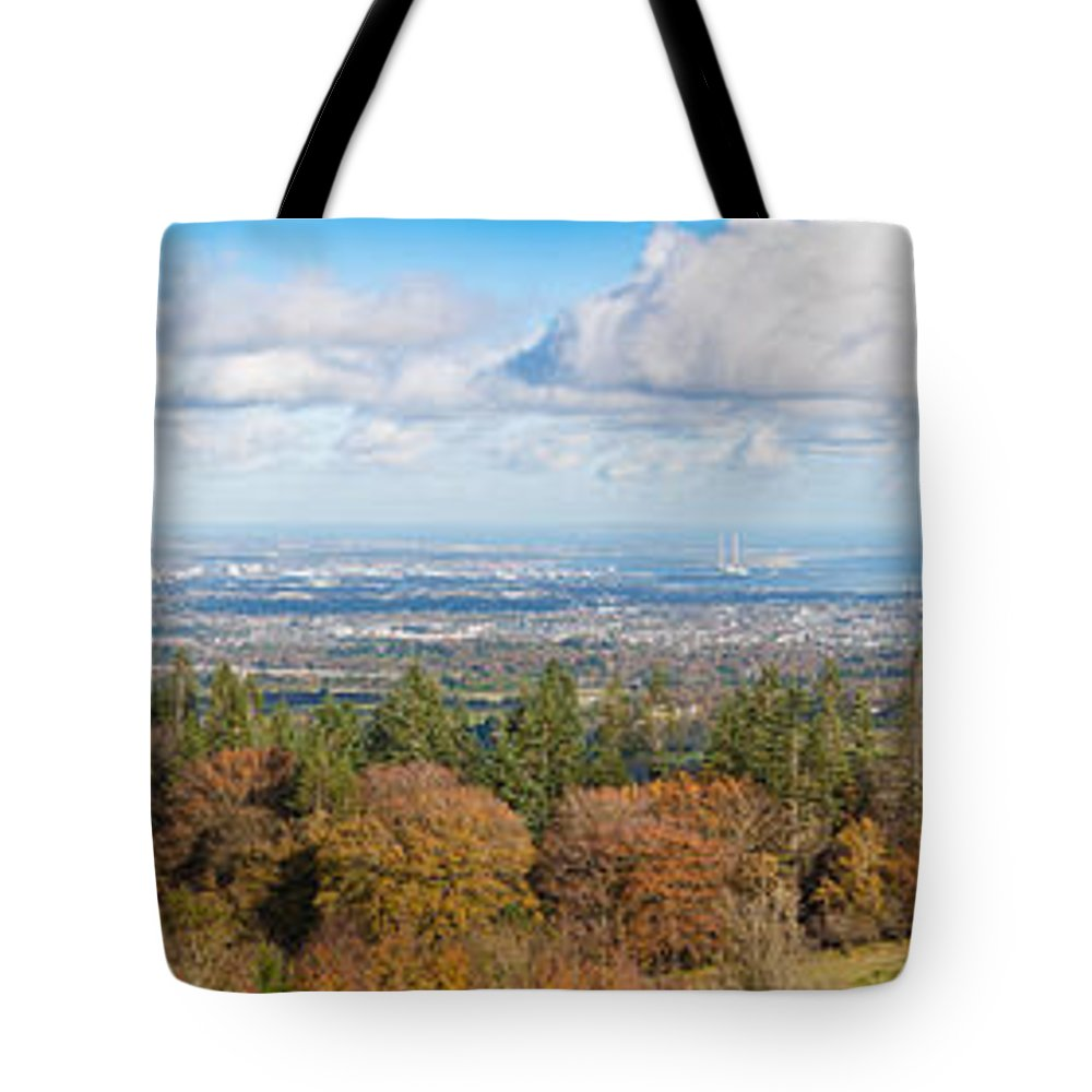 City Tote Bag featuring the photograph Panorama Of Dublin City And The Dublin Bay by Semmick Photo