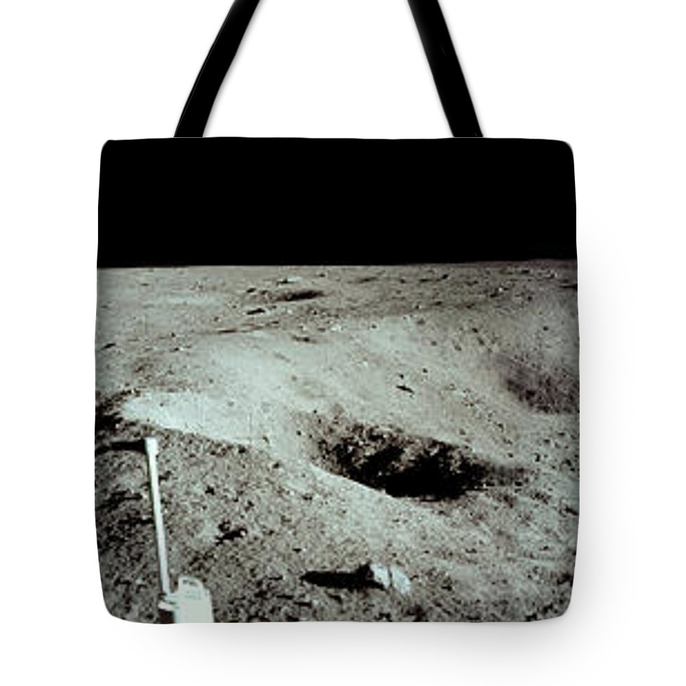 Nasa Tote Bag featuring the photograph Panoramic Of Rim Of Lunar Crater by Nasa