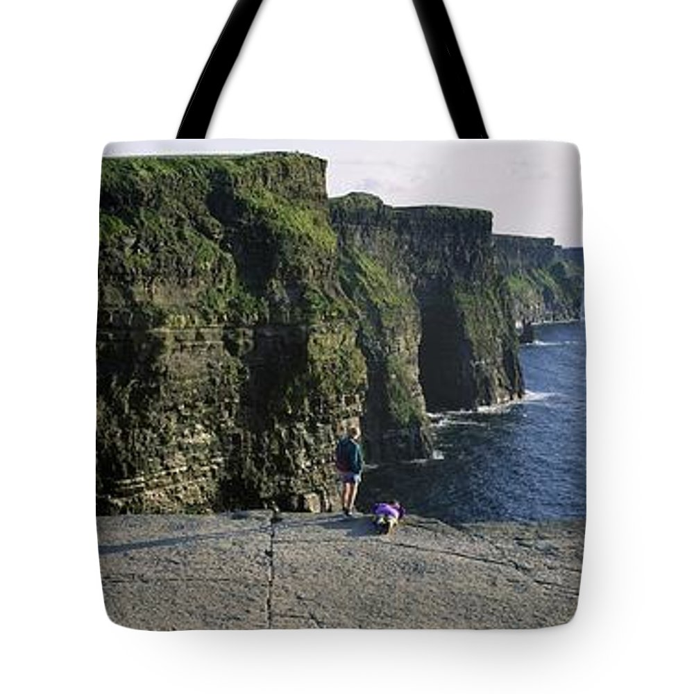 Atlantic Ocean Tote Bag featuring the photograph Panoramic View Of Cliffs, Cliffs Of by The Irish Image Collection
