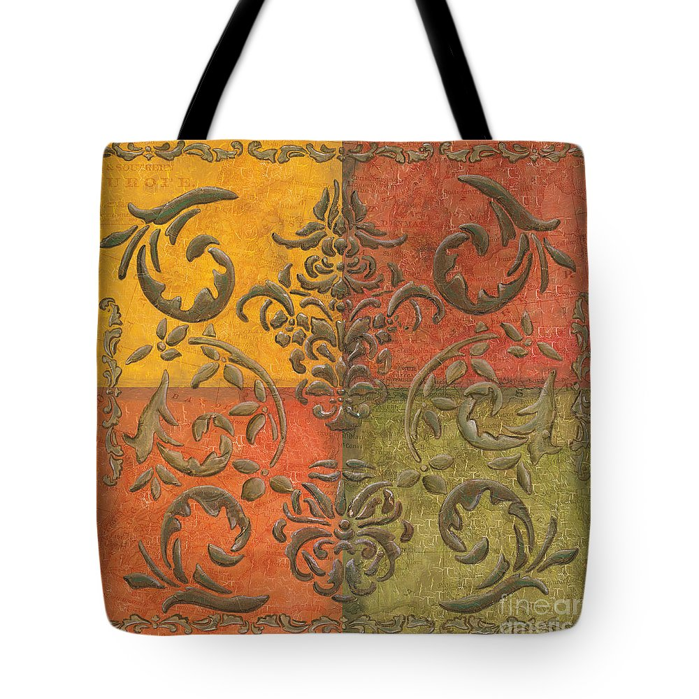 Transitional Tote Bag featuring the painting Paprika Scroll by Debbie DeWitt