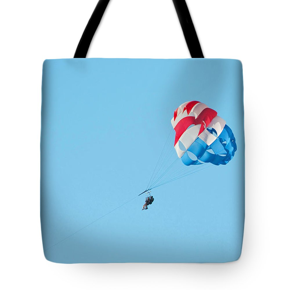 Parasailing Tote Bag featuring the photograph Parasailers Over Marco by Christine Stonebridge